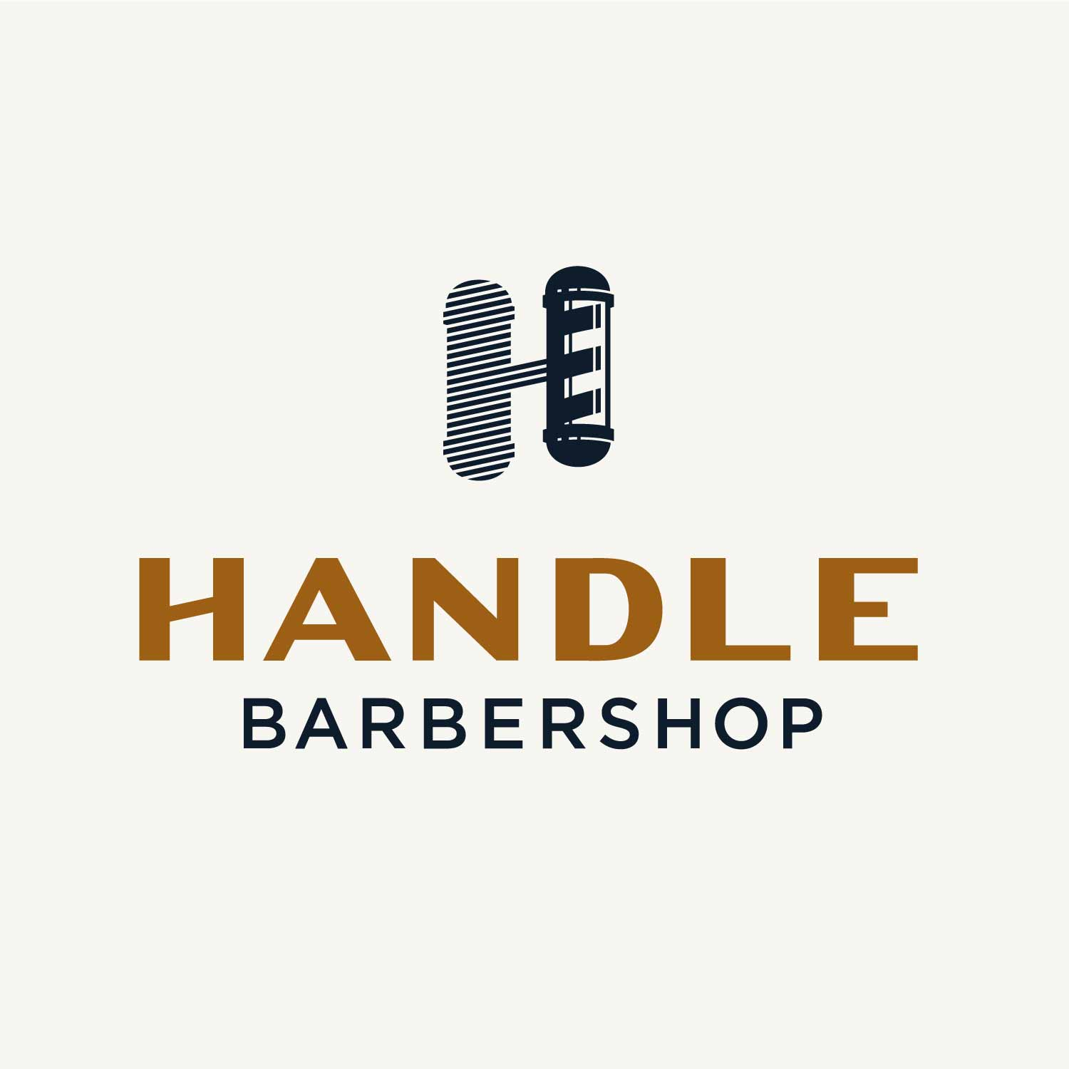 Full Handle Barbershop logo with shadowed parlor pole H—by Hunter Oden of oden.house