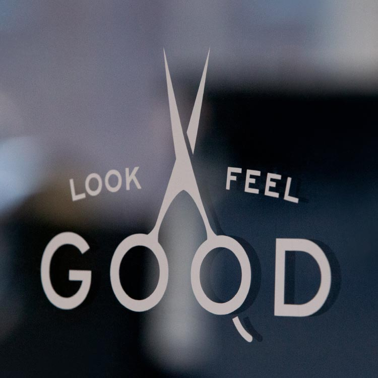 Look/Feel Good made of barber shears for Handle Barbershop—by Hunter Oden of oden.house