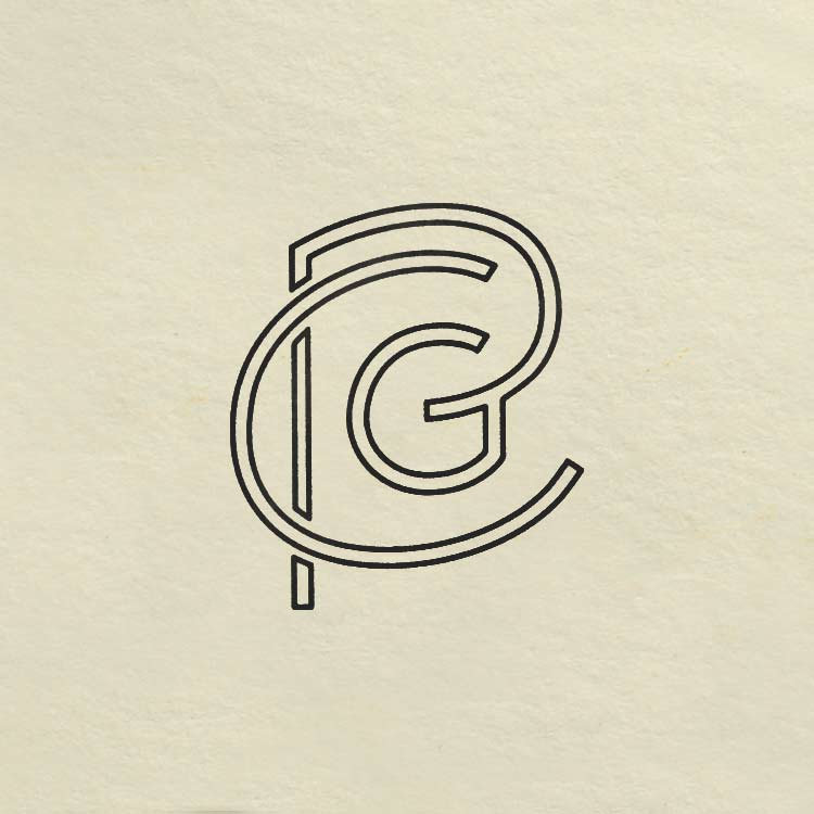 Pear City Guitars monogram logo—by Hunter Oden of oden.house