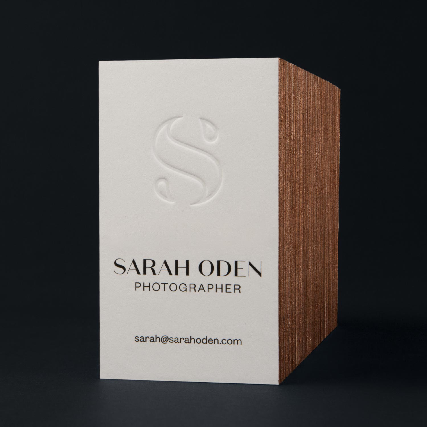 Sarah Oden Photographer luxury business cards with embossed logo and painted edges—by Hunter Oden of oden.house